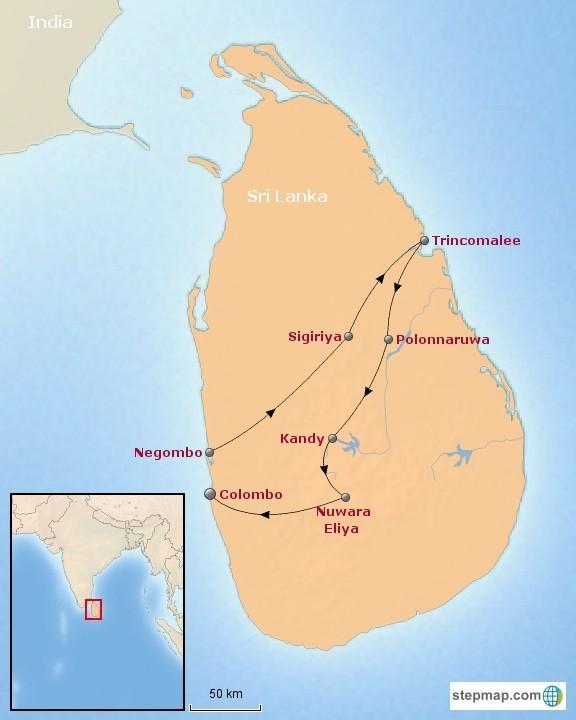 Riksja Family Sri Lanka rondreis tieners kaart Expeditie Sri Lanka 40plusteens kaart