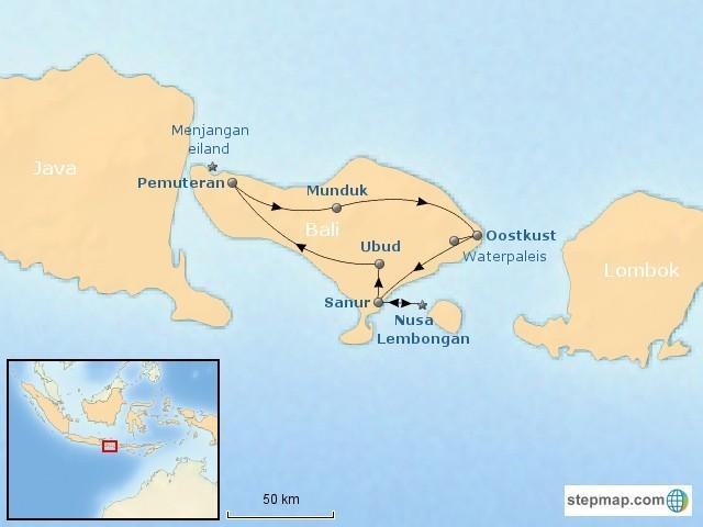 Riksja Family Bali rondreis tieners kaart Bali Gezinsreis 40plusteens kaart